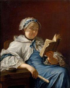 """""""Portrait de Madame Nonnotte"""" - Donatien Nonnotte Portrait of a lady reading a book. 18th century."""