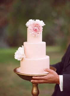 Beautiful blush wedding cake by Sweet and Saucy Shop