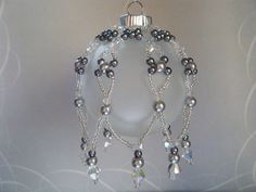 Christmas Ornament / Beaded Ornament Cover / Clear Crystal Silver Seed Bead Silver Pearls Ornaments