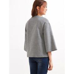 SheIn(sheinside) Grey Knotted Collar Kimono Sleeve Double Face Coat (€22) via Polyvore featuring outerwear, coats, short coat, grey coat, leather-sleeve coats, reversible coat en gray coat