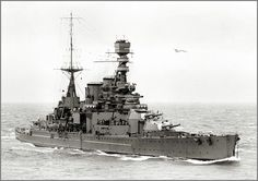 HMS REPULSE, 1926: under-armoured when built late in WW1, even for a type which had proved notoriously deficient in this respect at Jutland, she received some additional protection in the 1920s, but not the extensive modernisation her sister Renown got the following decade. Her AA armament was notably weak: she was sunk by Japanese air attack in December 1941 together with modern battleship HMS Prince of Wales.