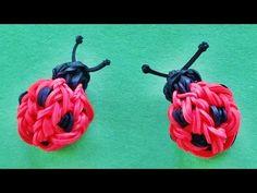 Rainbow Loom 3D Ladybug Charm : How to make with loom bands (Monster Tai...
