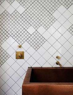 Geometric wall tiles are a simple, but very effective, way of creating a stylish bathroom design. Opt for a mix of large and small square tiles to create a striking pattern. Dream Bathrooms, Beautiful Bathrooms, Install Backsplash, Backsplash Ideas, San Francisco Houses, Wc Sitz, Geometric Tiles, Bathroom Renovations, Bathroom Sinks