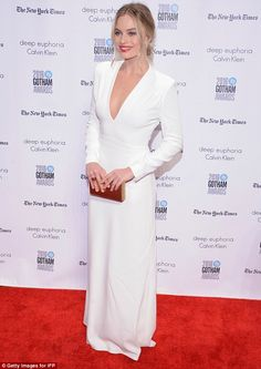 Stunning: Just hours earlier, the Suicide Squad star showed off her cleavage in a plunging white frock, while attending the IFP's 26th Annual Gotham Independent Film Awards in New York City