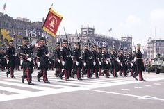 Officers and cadets of the Heroic Military College (Heroico Colegio Militar) marching through the Zócalo in Mexico City at the 2012 Mexican Independence Day Parade.