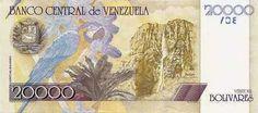 Pieza bbcv20000bs-bb01r (Reverso). Billete del Banco Central de Venezuela. 20000 Bolívares. Diseño B, Tipo B. Fecha Abril 25 2006. Serie Z8. Billete de reposición