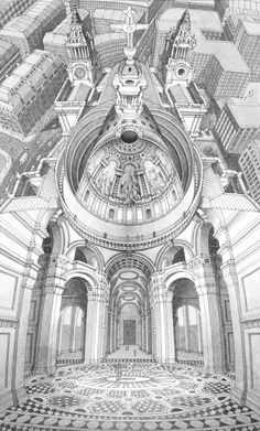St Paul's Cathedral from Stephen Biestry's Inside-out drawing series. Badass!