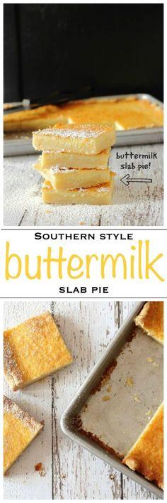 Southern Style Creamy Buttermilk Slab Pie | THIS BUTTERMILK SLAB PIE IS BAKED ON A BUTTERY SHORTBREAD CRUST WITH A LEMON AND NUTMEG CUSTARD FILLING. | Dessert | Foodness Gracious | #dessert #lemondessert # slabpie #shortbread
