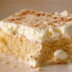 Tres Leches (Milk Cake) by Stephanie, allrecipes: 280 calories/serving.