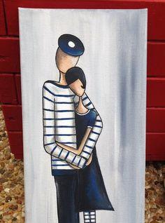 Un tableau du bord de mer représentant un couple d'amoureux  réalisé à la peinture acrylique et verni sur une toile lin de  dimensions: 20 cm x 50 cm  Modèle unique et o - 20226750