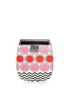 "Small clutch bag in PVC. ""Paillette"" print. Geometric pattern on the outside, plush lining inside. The frame structure is wrapped in leather, with the Marni logo tongues for opening. No pockets inside."