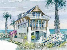 Waterfront Villa-Plan SL-1452 Coastal Living House Plan