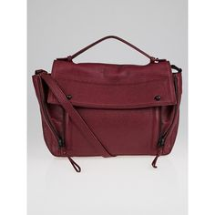 Pre-owned 3.1 Phillip Lim Aubergine Shark Embossed Leather Pashli... ($295) ❤ liked on Polyvore featuring bags, messenger bags, courier bag, laptop bags, leather messenger bag, genuine leather messenger bag and zip messenger bag