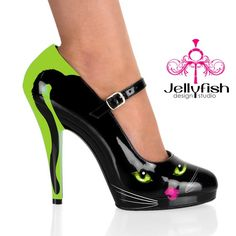 Jellyfish hand painted shoes - Purrcilla Mary Janes <3