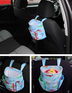 FREE dimensions and tutorial. Car Basket - free pattern & tutorial, not in English but with the great pictures I think I could make this easily enough. Sewing Hacks, Sewing Tutorials, Sewing Patterns, Fabric Crafts, Sewing Crafts, Sewing Projects, Sewing For Kids, Baby Sewing, Learn To Sew