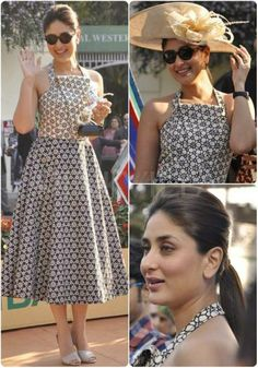 Kareena Kapoor Khan attended the Mid Day trophy event looking absolutely stunning. She was seen wearing an Ashish N Soni dress along with Prada shoes, with her hair tied up. A perfect afternoon look for the races, we say! Her look was styled by Tanya Ghavri.