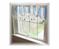 Fresh as a Sea Breeze  Number TWO  Frosty Stained Glass Window Treatment Valance