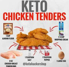 KETO CHICKEN TENDERS Chicken tenders that are keto friendly? These are low carb chicken tenders that still are golden brown and have that classic crunch! YOU WILL NEED 8 ounces chicken breast tenderloins (about 6 pieces) 1 cup almond flour 1 tea Ketogenic Recipes, Low Carb Recipes, Diet Recipes, Cetogenic Diet, Pollo Keto, Comida Keto, Chicken Nuggets, Keto Chicken, Recipes