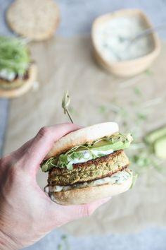 Gluten-Free Zucchini Burgers with White Beans, Avocado and Basil Aioli