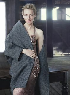 Cate Blanchett | Coat by Balenciaga, dress by Marc Jacobs | Photog: Will Davidson | Styled by Christine Centenera | Vogue (Australia) December 2015