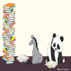 """Donkey """"Tino"""" & Co. Happiness is a good book. by Federico Monzani"""