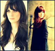 Long hair with bangs LOVE THE PIC ON THE LEFT