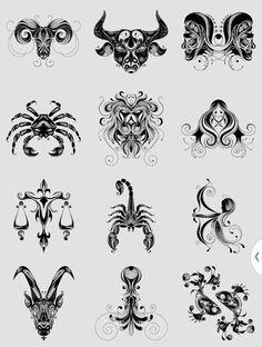 Signs Simbolos Tattoo, Mandala Tattoo, Body Art Tattoos, Tribal Tattoos, Scorpio Zodiac Tattoos, Horoscope Tattoos, Zodiac Art, Zodiac Signs, Tattoo Templates