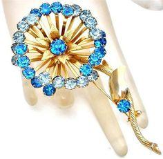 Vintage Blue Rhinestone Brooch Large Flower Pin Gold High End Prong Set