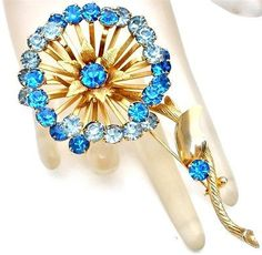 Vintage Blue Rhinestone Brooch Large Flower Pin Gold High End Prong Set