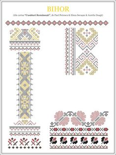 Semne Cusute: din TRANSILVANIA Folk Embroidery, Embroidery Stitches, Embroidery Patterns, Cross Stitch Patterns, Knitting Patterns, Learn Embroidery, Cross Stitch Freebies, New Things To Learn, Beading Patterns