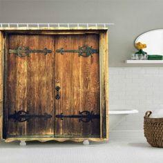Retro Door Print Waterproof Bathroom Shower Curtain - BROWN W71 INCH * L79 INCH