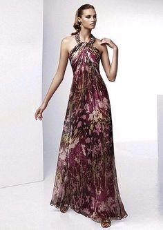 Vestido de fiesta largo con tela estampada