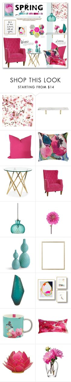 """""""Spring Florals: Pink & Teal"""" by lauren-a-j-reid on Polyvore featuring interior, interiors, interior design, home, home decor, interior decorating, Élitis, CB2, Bluebellgray and Sasson Home"""