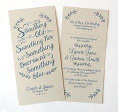 Something Blue Wedding Invitation SAMPLE by STNstationery on Etsy
