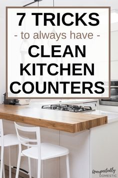 Keep your kitchen countertops clutter free with these 7 easy tricks! If your kitchen counters are covered with random junk you never use, you need these decluttering tips. When your counters look messy, the whole room looks bad, so try these easy cleaning tips and tricks to keep them clear. These brilliant kitchen counter organization ideas will help you organize and declutter your kitchen countertops, once and for all. #clutter #decluttering #cleaning Kitchen Counter Storage, Kitchen Drawer Organization, Kitchen Sets, Diy Kitchen, Organization Ideas, Kitchen Design, House Smell Good, Easy Tricks, Organizer