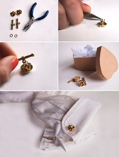 How to: DIY Cufflinks    You will need:  2 shank buttons  2 toggle clasps  2 jump rings  Pliers    1. Open a jump ring using your pliers and attach a button.    2. Attach the part of the toggle clasp shaped like a bar to the same jump ring and close tightly. This will create 1 cufflink.    3. Repeat steps 1 and 2 to create your second cufflink.