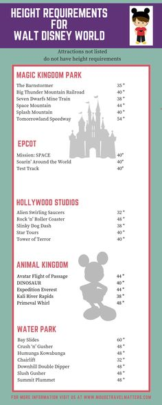 Walt Disney World Attraction Height Requirements for kids visiting Disney Related posts:Get the ultimate guide to Disney Fast Pass for 2019 plus a FREE printable cheat .Complete list of EVERY Disney World Ride by Age Group Disney World Rides List, Disney World Attractions, Disney World Vacation Planning, Walt Disney World Vacations, Disney Planning, Vacation Planner, Disneyland Vacation, Vacation Ideas, Trip Planning