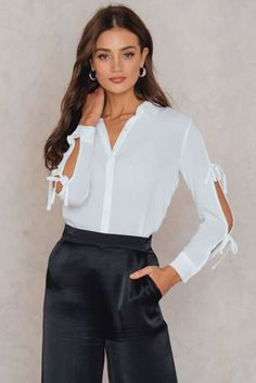 c02aab1fc Tie Sleeve Shirt Minkpink, Shirt Sleeves, Get Dressed, Off White, Shirt  Blouses