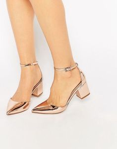ASOS gold metallic pointed block heels | ankle strap | $62