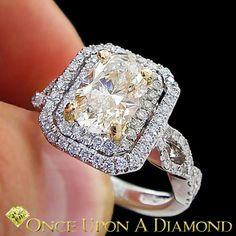 2 09ctw Fancy Light Yellow Diamond Engagement Ring Double Halo 18K Gold | eBay