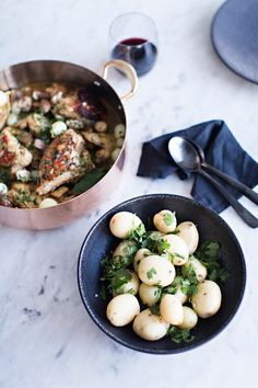 Coq au vin is a classic dish, the perfect, hearty meal for the winter  months. Here is our spin on the recipe, using items found at Simon. Find  this and an interview with us here    Coq au vin  Serves 4-6  __  1 5lb chicken, cut into 8 pieces, bone in (thigh, breast, wing etc)  Sea salt  freshly ground black pepper  ½ cup all-purpose flour  6 slices of bacon, diced  8 tablespoons unsalted butter  1 large onion, finely minced  5 cloves garlic, thinly sliced  4 sprigs of thyme  2 - 3…