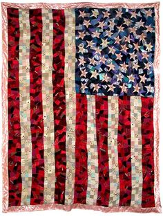 AMERICAN FLAG CRAZY QUILT, 2003 Sewn fabric and found material, 112 x 86 inches $11,000.