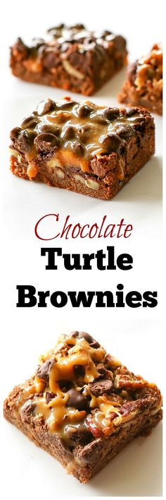 These Chocolate Turtle Brownies are rich chocolate brownies with gooey caramel, nuts, and more chocolate. the-girl-who-ate-. Chocolate Turtles, Chocolate Brownies, Chocolate Desserts, Brownies With Caramel, Turtle Brownies, Best Brownies, Brownie Recipes, Cookie Recipes, Dessert Recipes