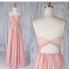 2017 Blush Chiffon Bridesmaid Dress, Ruched Sweetheart Wedding Dress, Spaghetti Strap Prom Dress, Illusion Lace Back Maxi Dress Floor (L338)