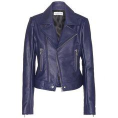 Balenciaga Leather Biker Jacket (157.435 RUB) ❤ liked on Polyvore featuring outerwear, jackets, casacos, blue, coats, motorcycle jacket, blue moto jacket, 100 leather jacket, blue motorcycle jacket and leather moto jacket