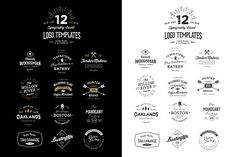 12 Typography Based Vintage Logos - Templates