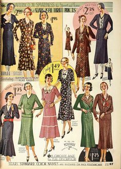 1931 Fashions from Sears Catalogue
