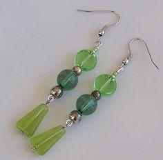 Dangle Earrings Green Beads Fashion Beaded Costume Jewelry Hand Crafted NWOT #Handmade #DropDangle