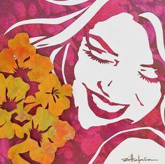 "Original Art, Figurative Art – Mixed media ""Pink ALoha"" by Marcy Ann Villafaña - Paper Cut by VillafanaArt on Etsy Canvas Board, Canvas Frame, Fine Art Gallery, Custom Art, Artist At Work, Figurative Art, Mixed Media Art, Female Art, Paper Cutting"