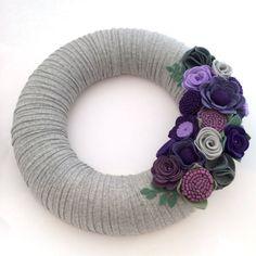 Large felt wreath. Mixed Felt flowers. by BlossomandFlourishGB
